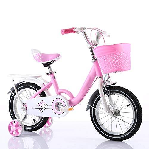 YumEIGE kinderfiets voor kinderen met kinderzitje in hoogte verstelbaar met trainingsfiets 12 14 16 18 inch geschikt voor 3-9 jaar cadeau voor meisjes