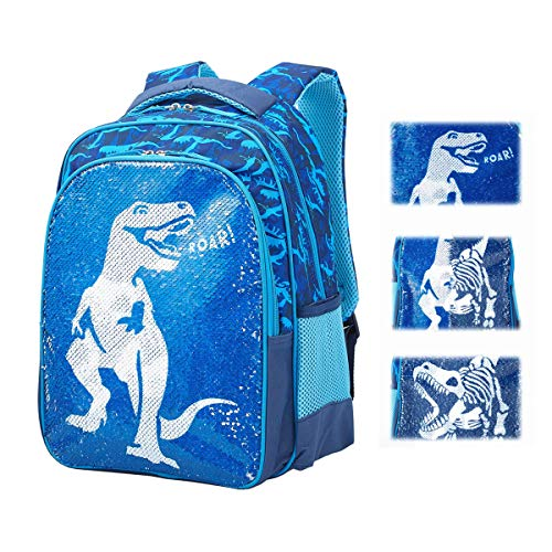 Magic Reversible Sequin School Bag, Lightweight Pre-School Backpack for for Kindergarten or Elementary, T-Rex Dinosaur