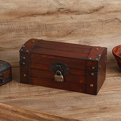 SALUTUYA Exquisita Caja de Madera Vintage para joyería, Organizador de joyería de Madera, con Cerradura, para Mujeres y niñas para decoración de Escritorio para baratijas(Small Combination Lock)