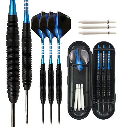 BELLE FILLE Dardos con punta de acero de 3 piezas, juego de dardos profesionales de metal de 22 gramos con varillas de aluminio, caña de hierro, punta de acero y varillas extra (azul)