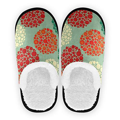 Zapatillas para hombre y mujer, diseño abstracto, colorido, forro de felpa, cómodas, de forro polar, para interiores y exteriores, para spa