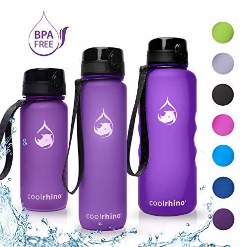 coolrhino Trinkflasche 650ml für Sport, Outdoor, Schule, Fitness & Kinder - Wasserflasche auslaufsicher und Bpa frei - Flasche für Kohlensäure geeignet (Rhino lila, 650ml)