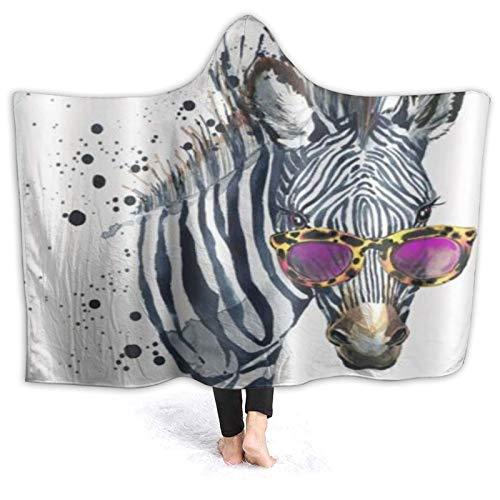 HARXISE Tragbare Hoodie Decke,Cooles Zebra im Sonnenbrillen lustigen Tier,Umhang Druck Grafik warm für den Winter 60x50