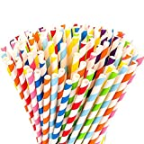 Windup Biodegradable Paper Drinking Straws for Juices Shakes Smoothies Party Supplies Decorations - Ultra Long - Set of 25 Pc