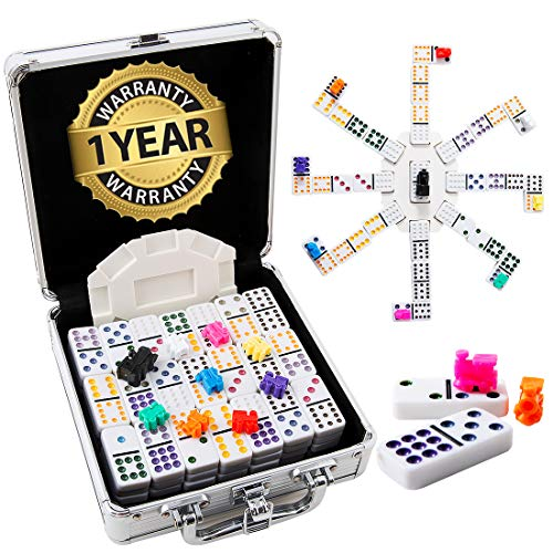 Tocebe Mexican Train Dominoes - Double 12 Dominoes Set for Travel, Mexican Dominoes 91 Tiles with Aluminum Case
