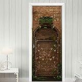 SEKCTV 3D Etiqueta de Puerta Bonsai de soporte de flor de planta verde mural de puerta Vinilo Autoadhesivo Removible Murales Papel Pintado Fotográfico Posters para Cocina dormitorio Decoraciones 77x2