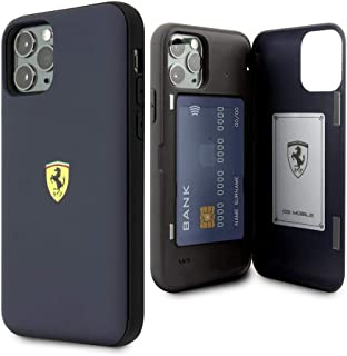 CG Mobile Ferrari Pc/TPU Hard Case for iPhone 11 Pro Cell Phone Cover with 2 Card Slots and Magnetic Closure Navy Easy Sna...