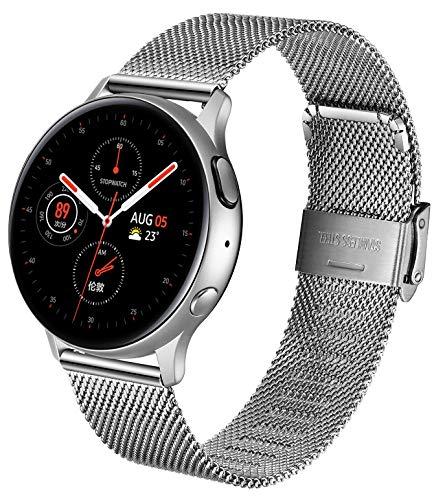 XIRUVE Correa de Reloj de Malla, Compatible con el Samsung Gear Sport, Acero Inoxidable Reemplazo Liberación Rápida
