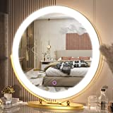 20 inch Large Vanity Makeup Mirror with Lights, 3 Color Lighting Modes | Round Lighted Up Makeup Mirror with Dimmable LED Halo for Dressing Room & Bedroom Tabletop, Touch Control, Metal Frame (Gold)