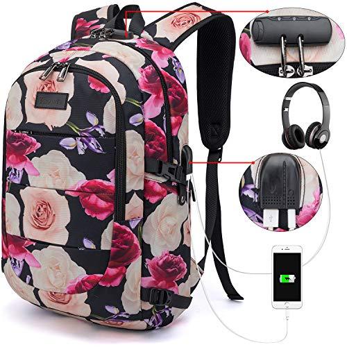 Tzowla Business Mochila portátil resistente al agua antirrobo universidad mochila con puerto de carga USB y bloqueo 15.6 pulgadas ordenador para las mujeres niñas senderismo viaje Daypack-Flor
