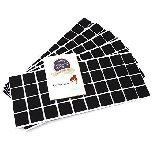 Adsamm | 200 x almohadillas de fieltro | 25x25 mm | negro | cuadrado | Protectores de suelo para patas de mueble | auto-adhesivos | con grosor de 3,5 mm de la máxima calidad