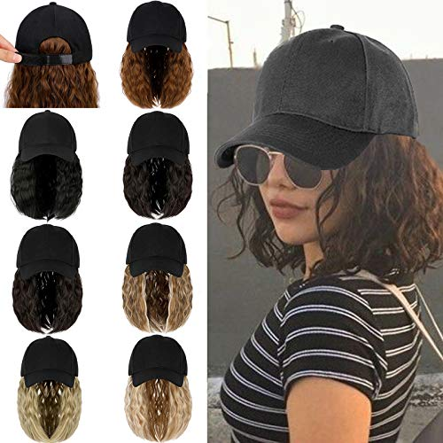 Qlenkay Baseball Cap Hair with 14 inch Wave Curly Bob Hairstyle Adjustable Wig Hat Attached Short Extensions Synthetic for Women Natural Black
