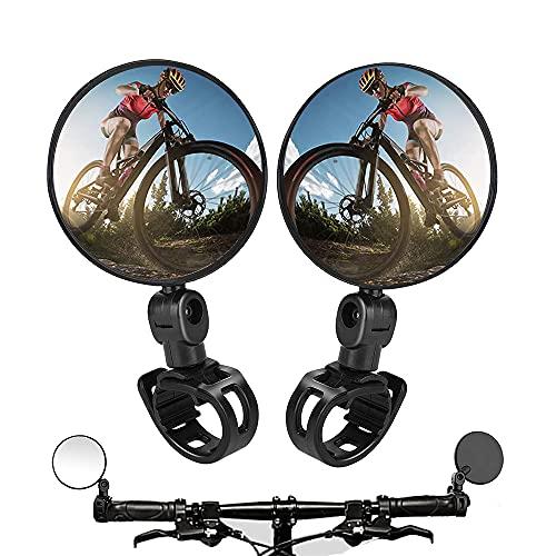 2PCS Bike Mirrors,Adjustable Rotatable Handlebar Mounted Plastic Convex Mirror for Mountain Road Bike