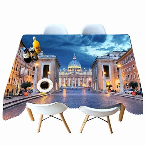 AMON LL Tafelkleed Stofdicht Tafelkleed voor Home Decor, 3D Stadspatroon Oliebestendig Rechthoekig Tafelkleed voor Keukentafels