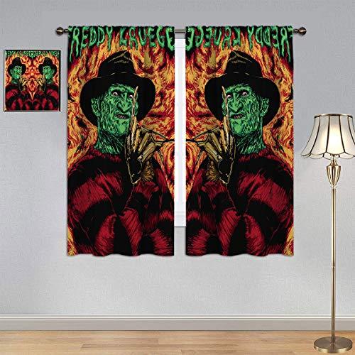 ARYAGO Cortina de ventana para habitación infantil, una pesadilla en el olmo, película de terror de Halloween Freddy Krueger cortina de ventana de tela para habitación/sala de estar de 175 x 150 cm
