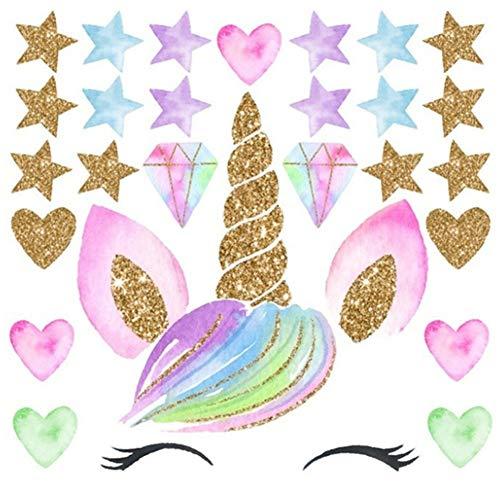 EROSPA® Wanddeko-Aufkleber Kinderzimmer Einhorn Sterne Diamanten Herzen - Mädchen/Girls