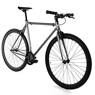 Golden Cycles Single Speed Fixed Gear Bike with Front & Rear Brakes (Asphalt, 63)