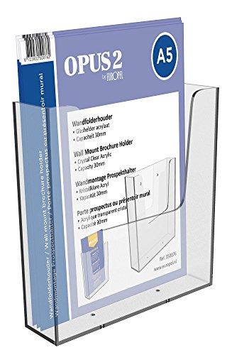 OPUS 2 350076-Wand Prospekthalter für DIN A5 im Hochformat, Transparent, Acryl