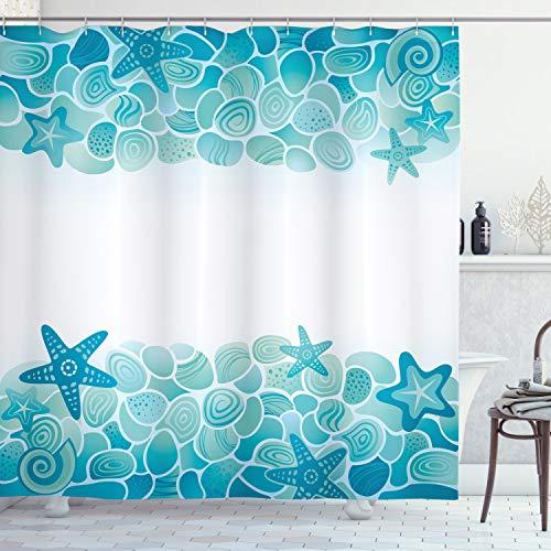 Ambesonne Ocean Shower Curtain, Modern Sealife Marine Sea Shells Stars Fish Under The Sea Image, Cloth Fabric Bathroom Decor Set with Hooks, 75' Long, Turquoise Seafoam