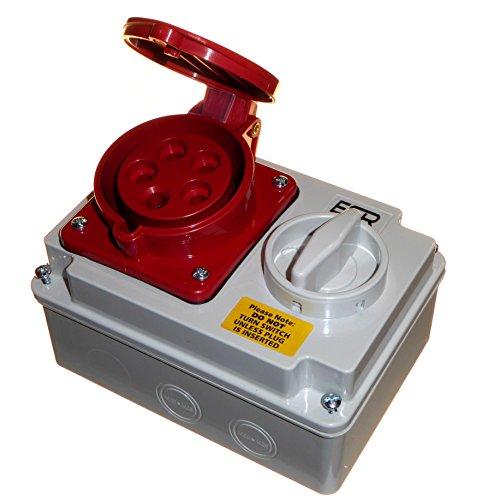 32 Amp 415 V 5-poliger Verriegelungssteckdose 3P+N+E 3-Phasen-Schaltung, Rot