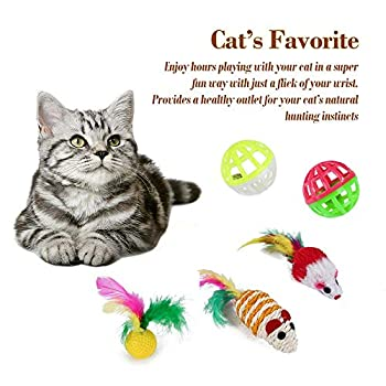 Lot de 21 jouets pour chat - Jouet interactif avec tunnel pour chat - Boules en plumes avec cloches - Jouet en peluche - Souris - Jouet pour chat