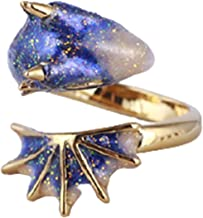 Jingli Sieradenring Enamel Glaze Black Knight Dragons Triceratops Open Ring Verstelbare Ornamenten Duurzaam en Interessant