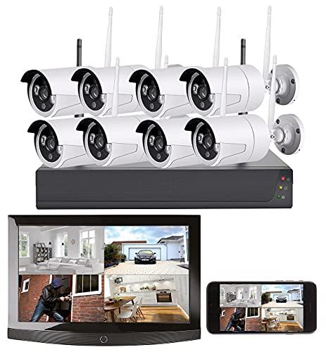 VisorTech Videoüberwachung: Funk-Überwachungssystem: HDD-Rekorder, 8 Full-HD-Kameras, App-Zugriff (CCTV)