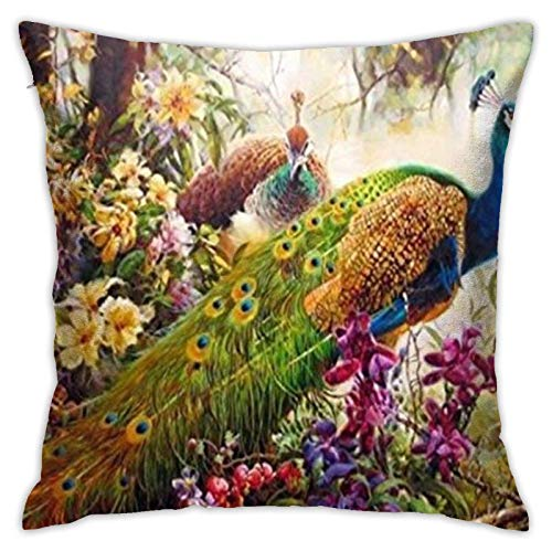 ChenZhuang Peacock Painting in Flowers Cotton Linen Pillow Case Sofa Home Bedroom Car Cushion Cover Decoration 18'' x 18'' in.