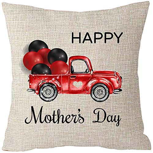 Fhdang Decor Happy Mothers Day Car Balloon Love Shape Best Gift Cotton Linen Throw Patio Furniture Pillow Covers Cushion 24x24 Inch