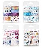 Gresunny 40 Rollos cinta washi tape cintas adhesivas decorativas cuatro temas cinta adhesiva washi tapes de colores para scrapbooking, manualidades, diarios de bala, envoltura de regalos