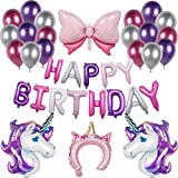 Unicornio Decoración De Cumpleaños Púrpura Feliz Cumpleaños Conjunto De Pancartas Unicornio Papel De Aluminio Globo Látex Confeti Fiesta En Globo Decoración Chica