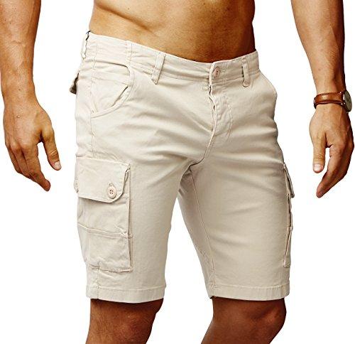 Leif Nelson Herren Cargo Hose Shorts Sommer Kurze Hose Chino Bermuda Stretch Slim Fit LN1345; W29; Beige