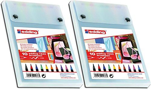 edding 1340 Brushpen Fasermaler mit Variabler Spitze, 10-stück farblich Sortiert (2 Packungen)