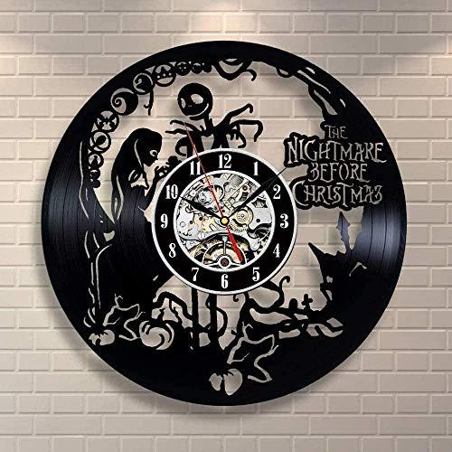 xiadayu Reloj de Pared de Vinilo Decoración de diseño Moderno Pesadilla Antes de Navidad Reloj de Pared Decoración del hogar Silenciar Siete Colores 12 Pulgadas