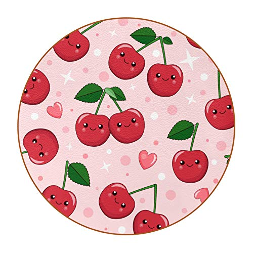 Microfiber leather Coasters with Round Edge 4.3 inches 6pc Heat-Resistant Reusable Saucers for Drinks Wine Glasses Plants Cups & Mugs,Cartoon Red Cherry Smile Pink Heart