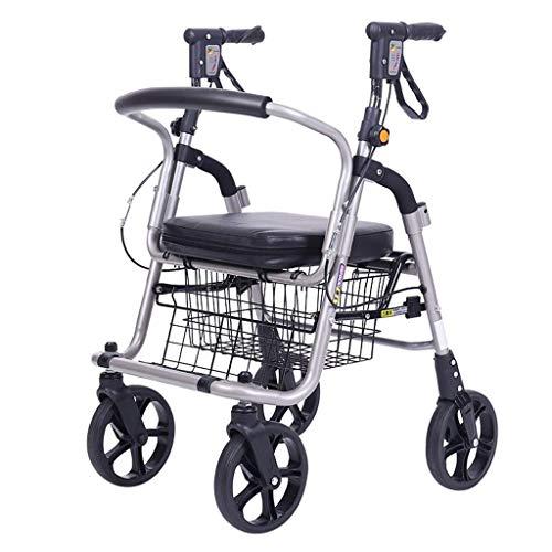 TWL-Wheelchair Old Man Carrito de Compras Empuje para Comprar Comida Carrito Ayuda de Ancianos Caminador de Cuatro Ruedas Se Puede Sentar Plegable Silla de Ruedas Liviana