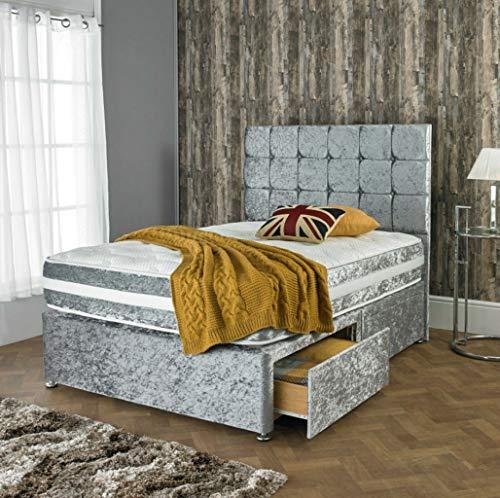 ADHW - Juego de cama doble diván para dormitorio con colchón y cama de tela a juego (color: gris, tamaño: 4 pies)