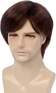 H&Bwig Men Wig Short Straight Dark Brown Hair Natural Synthetic Full Wigs Male Guy Daily Costume Party Machine Made Wig (Dark Brown)