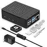 Raspberry Pi 4 Case, iUniker Raspberry Pi 4 Fan, Raspberry Pi 4 Heatsink, Raspberry Pi 4 5V 3.5A Type-C Power Supply with Switch for Pi 4 4b 8gb/4gb/2gb (UL Listed Power Supply)