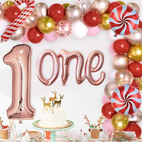 Decoraciones navideñas para el primer cumpleaños para niña Guirnalda de globos de oro rosa para Navidad Decoraciones para el primer cumpleaños Suministros Lollipop Candy Cane
