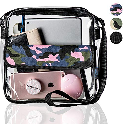 Clear Messenger Bag, Adjustable Stadium Approved Transparent Purse - 10' Pink