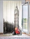 Tex family Cortina Londres inglesa autobús 160 x 300 cm, confeccionada en Italia, mezcla de lino