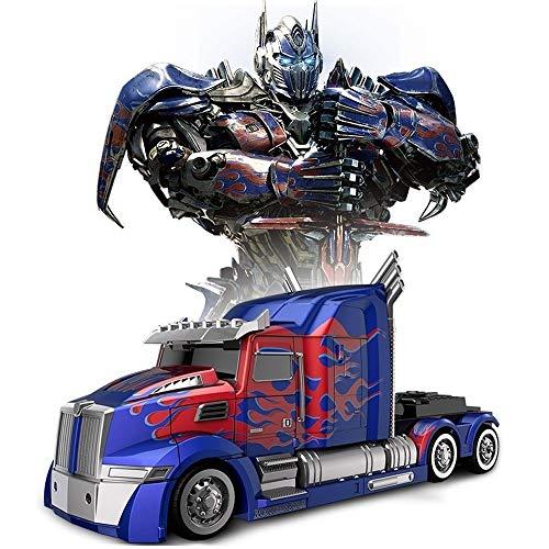 YYQIANG 2.4G RC Transformers Optimus Prime Bumblebee Stunt Coche Robot Deformación Autobots Semicamión Luces Suena Rotación 360° Deriva Niños Cumpleaños Navidad Fiesta Regalo Niños Aficiones