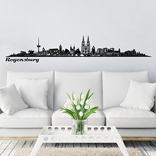 Wandkings Skyline - Deine Stadt wählbar - Regensburg groß - 200 x 30,2 cm - Wandaufkleber Wandsticker Wandtattoo
