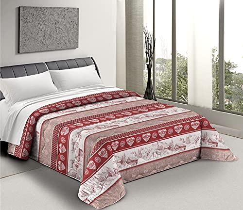 HomeLife Tagesdecke für französisches Bett, gesteppt, 100 Gramm, 220 x 260 cm, für Doppelbett, Sommer, Frühling, Tiroler Muster
