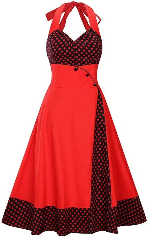 Kirabon Women's Sleeveless Halter Polka Dot Swing Dress Rockabilly Dress (color   Red, Size   XXL)