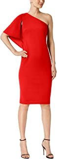 Calvin Klein Womens Petites Ruffled One Shoulder Party Dress