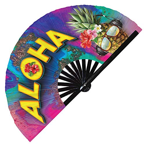 Aloha Hawaii Ventilador de mano plegable Maui Aloha, abanico de mano tropical Aloha, abanico de mano de bambú chino Honolulu Aloha (estilo 8)