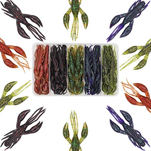 Crawfish-Lures-Bass-Fishing-Jig-Trailers-Soft Plastic 25/30 pk Shrimp Creature Crawdad Baits Kit 2 Huge Pinchers 3-4in (Swing Hands Craw 3.25 in 30pk)