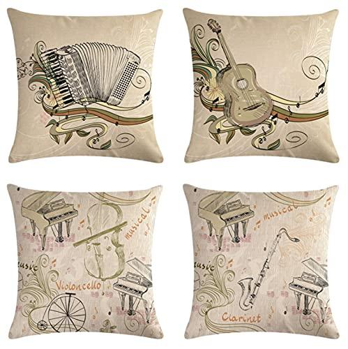 JOVEGSRVA Juego de 4 fundas de almohada decorativas para instrumentos musicales retro de 45 cm x 45 cm